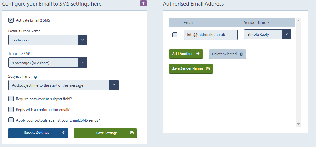 configure email to sms settings